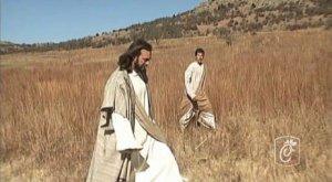 jesus in a field
