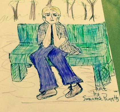 Confessing boy on bench