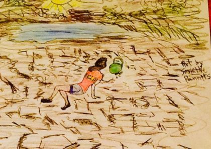 UCLA girl in the cracked desert